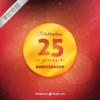 Golden twenty fifth anniversary badge on a red background