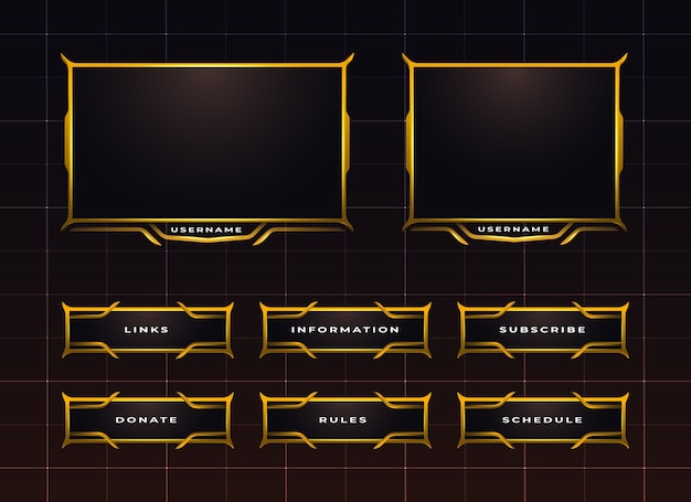 Golden twitch streaming panel design set