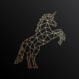 Golden unicorn in polygonal style