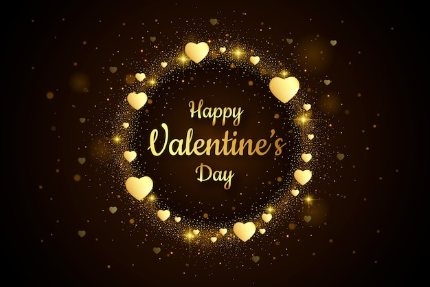 Golden valentine's day background greeting