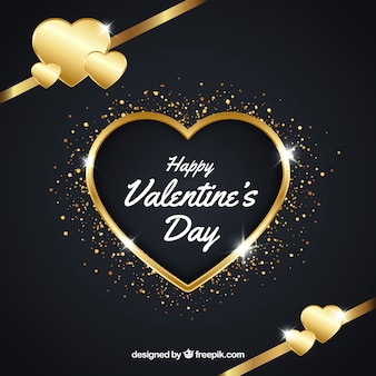 Golden valentine's day background with hearts