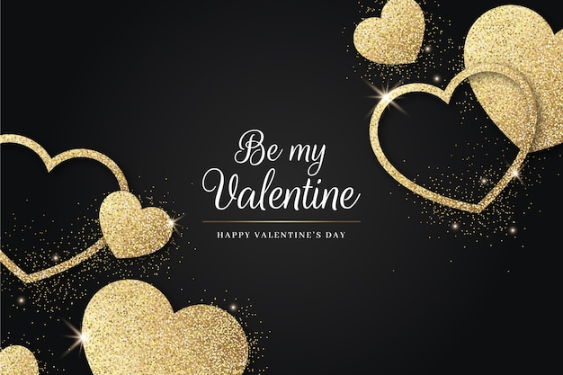 Golden valentine's day background