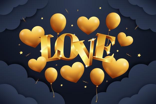 Golden valentine's day background