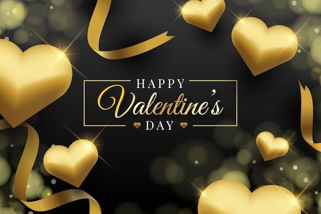 Golden valentine's day wallpaper
