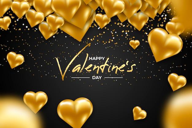 Golden valentines day background concept