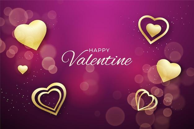 Golden valentines day background