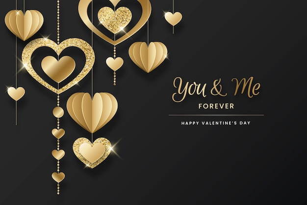 Golden valentines day background