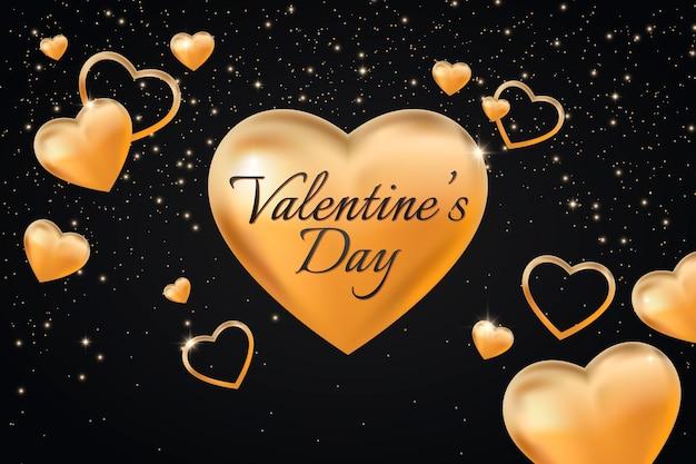 Fondo dorato di giorno di biglietti di s. valentino