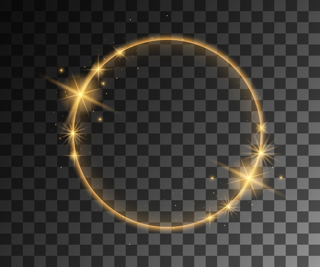 Golden vector light effects with particles decoration