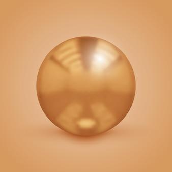 Золотой вектор металлический шар