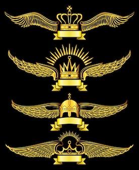 Golden vector wing crowns and ribbon royal logo set