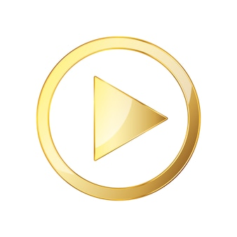 Golden video play icon. vector illustration.