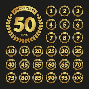 Golden vintage anniversary badges set
