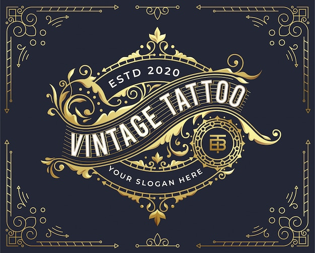 Golden vintage badge logo design with flourish ornament