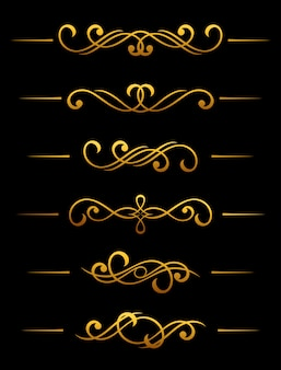 Golden vintage divider and border elements set for ornate