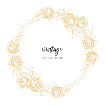 Golden vintage floral circle frame