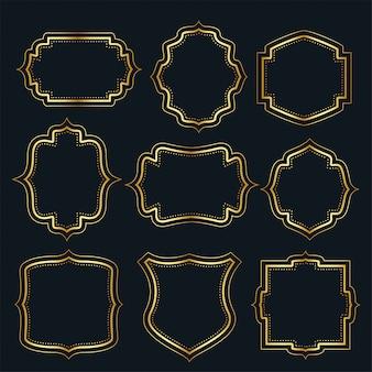 Golden vintage frame labels set