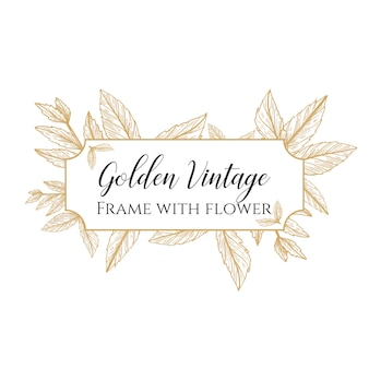 Golden vintage frame with flower