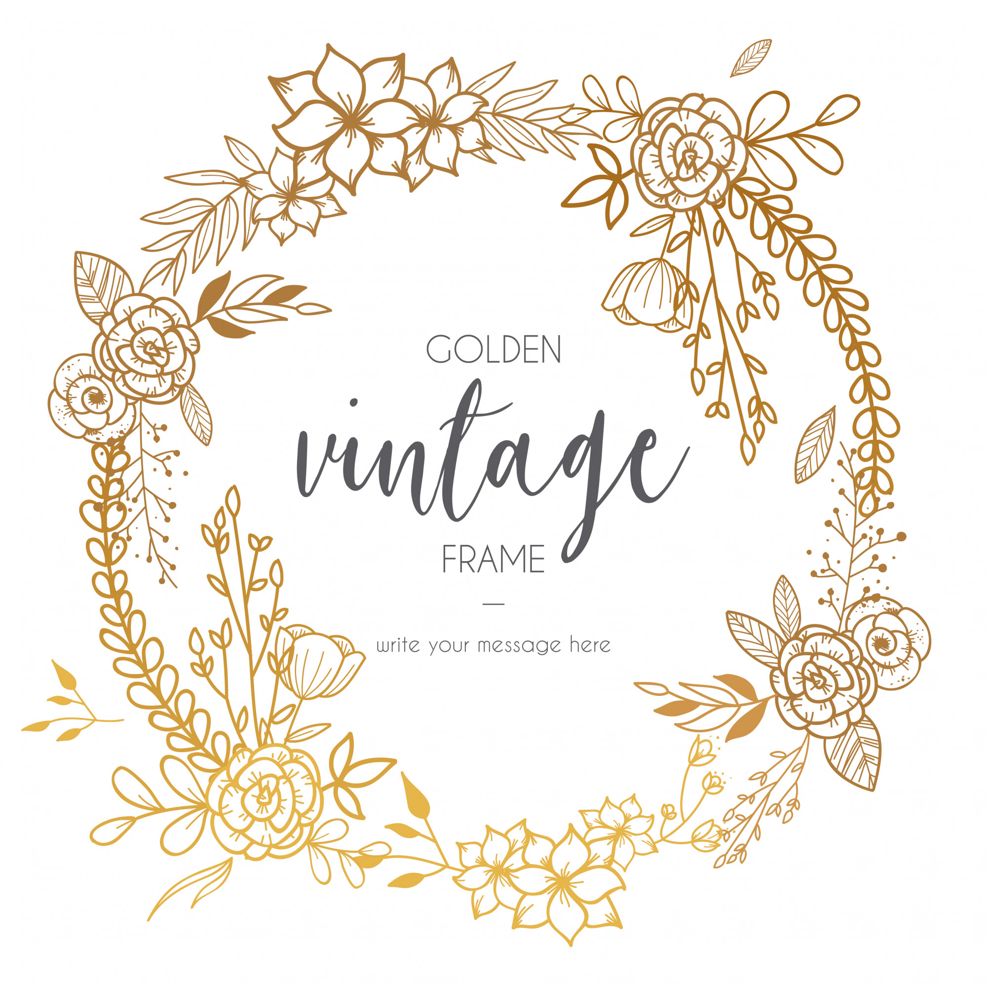 Golden Vintage Frame with Flowers