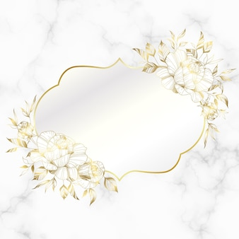Golden vintage frame with rose flower on marble background.