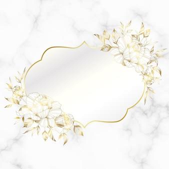 大理石の背景にバラの花と黄金のヴィンテージフレーム。