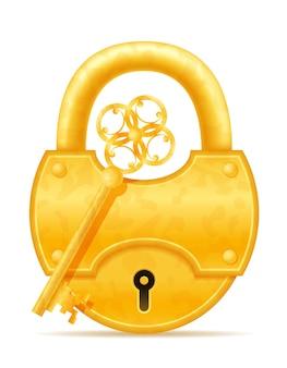 白で隔離される黄金のビンテージ ロックとキーの図