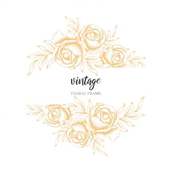 Golden vintage rose floral frame