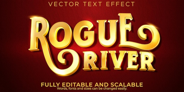 Golden vintage text effect, editable retro and old text style