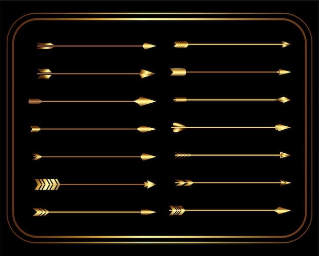 Golden vintage tribal arrows set