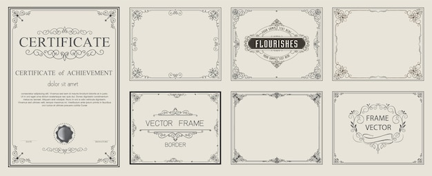 Golden vintage vector set floral elements