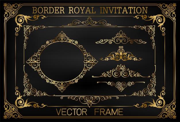 Golden vintage vector set. floral elements