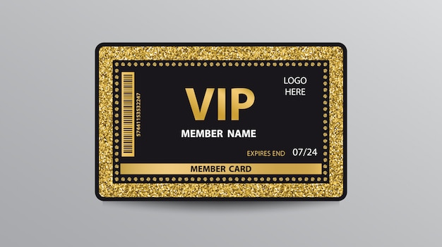 Golden vip card template with glitter