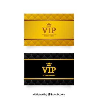 Golden vip cards with crowm