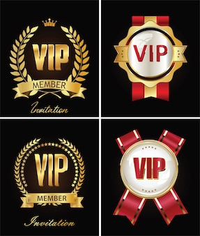 Golden vip invitation retro template
