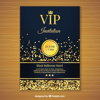 Golden vip invitation template
