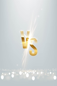 Golden vs letter sign with glowing shiny spark on light luxury vertical background versus logo element for game battle sport match with sun explosion burning sunray effect