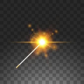 Golden  wand.  illustration.  on transparent background.