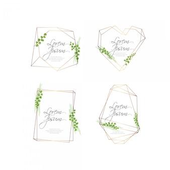 ゴールデン水彩花のフレームコレクション