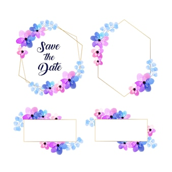 Golden watercolor floral frame collection