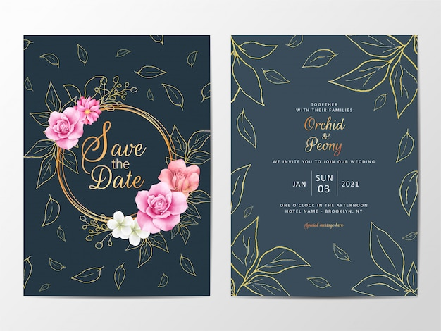 Golden watercolor floral wedding invitation cards template set