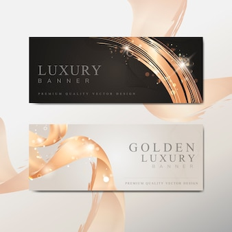 Golden wave abstract banner vector
