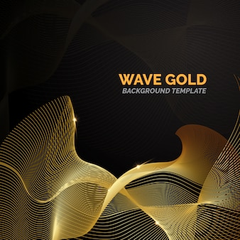 Golden wave background template