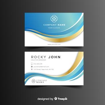 Golden wave business card template
