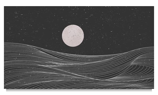 黄金の波線画、抽象的な現代的な美的背景の風景。プリントアート、カバー、招待状の背景、ファブリックに使用