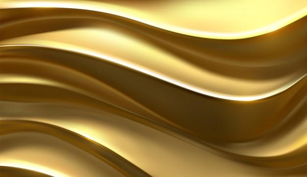 黄金の波。曲線模様。シンプルな幾何学的なカバーデザイン。ゆがんだメタリックストライプ。