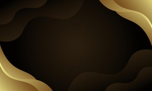 暗い背景に金色の波状。ウェブサイトのデザイン。