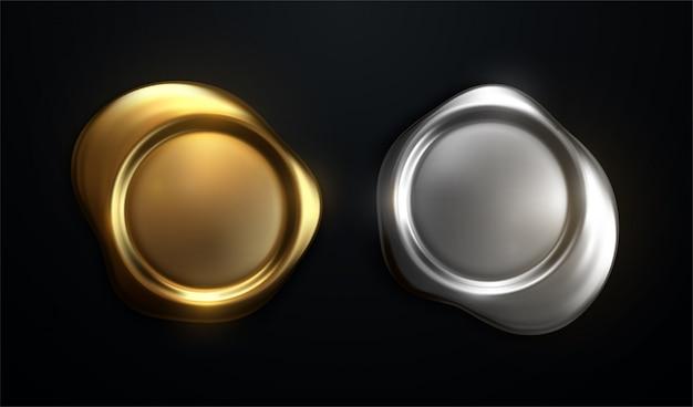 黄金のワックススタンプです。リアルな文字ラベル、3 dのロイヤル中世証明書シール、品質保証ロゴ。