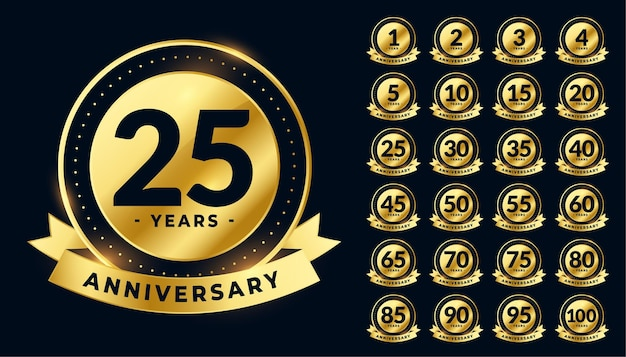 Golden wedding anniversary labels big set