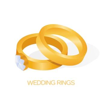Golden wedding couple ring with big shiny diamond vector illustration