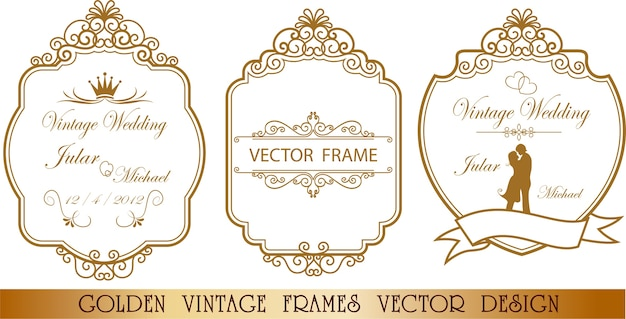 Golden wedding frame floral